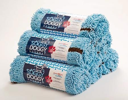 Baby Blue with Bone Doormat by Soggy Doggy