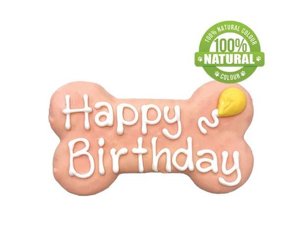 """Happy Birthday Bone Pink/Blue 6"""" Cookie by Bosco & Roxy's"""