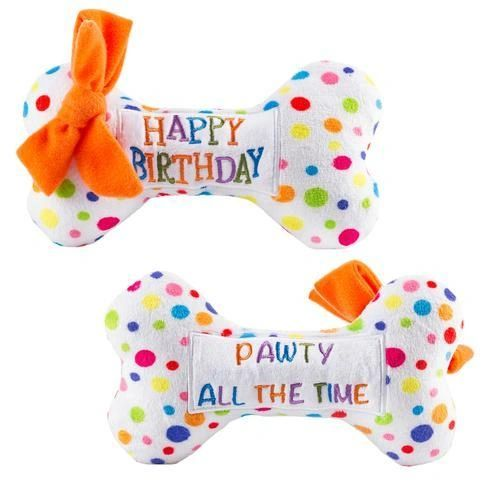 """""""Pawty All The Time"""" Happy Birthday Plush Bone by Haute Diggity Dog"""