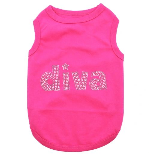 """Diva"" Rhinestone & Hot Pink Shirt by Parisian Pet"