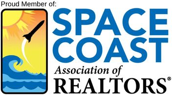 Space Coast Association of Realtors logo.  The left side shows a montage of ocean, rocket and sunbur