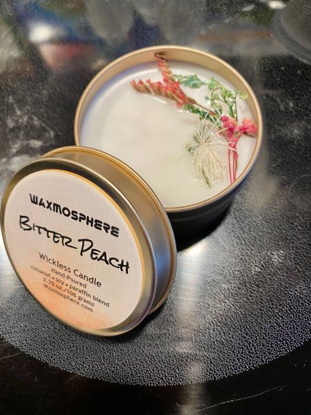 """Bitter Peaches (PLTM) """"wickless"""" candle"""