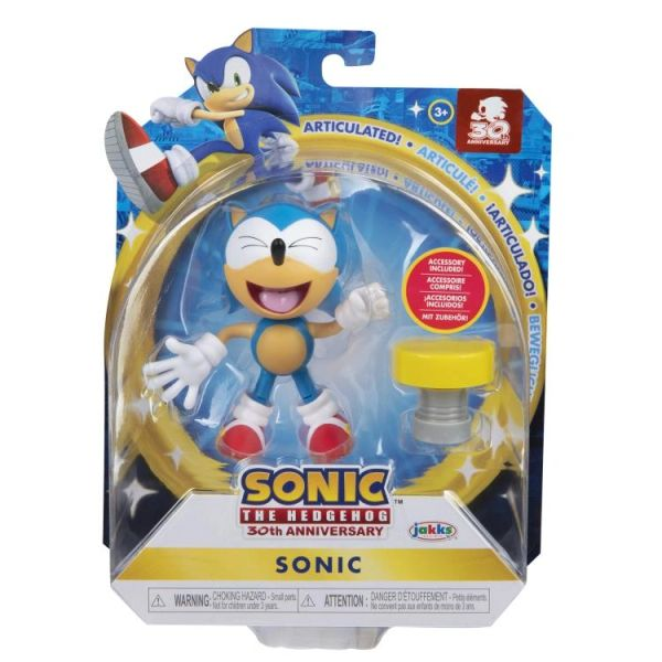 """Sonic The Hedgehog 30th Anniversary 4"""" Sonic with Spring Action Figure"""