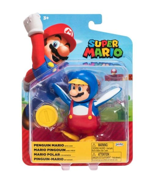 """*PRE-SALE* World of Nintendo 4"""" Wave 26 Penguin Mario with Coin Action Figure"""