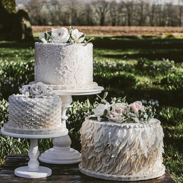 Textured Tiered wedding cake. Designed as a winter wedding cake