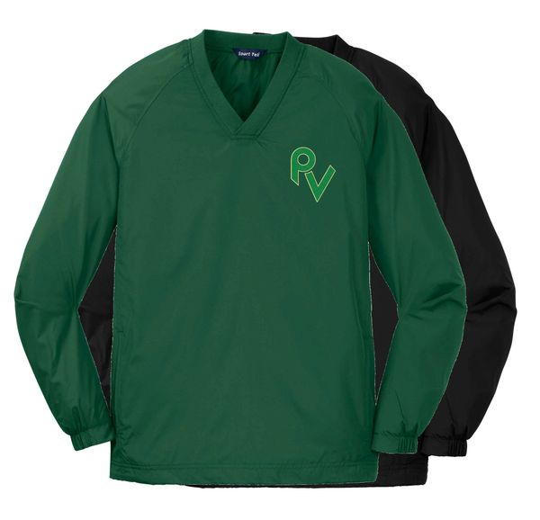 YOUTH V-Neck Wind Breaker w/ Embroidery