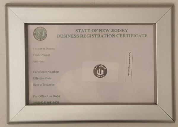 certificate registration business jersey state frame