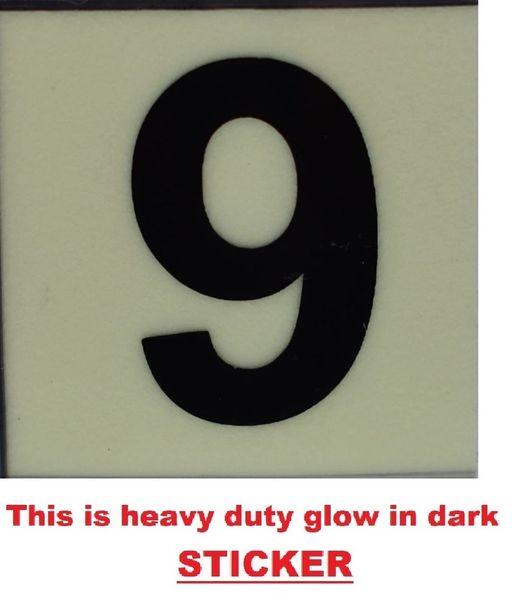 PHOTOLUMINESCENT DOOR NUMBER 9 SIGN (GLOWING APT # MARKING