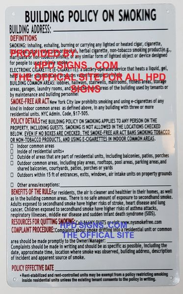 Residential Building smoke Policy Disclosure Sign ( White, 8 5x14  inch,Aluminium)
