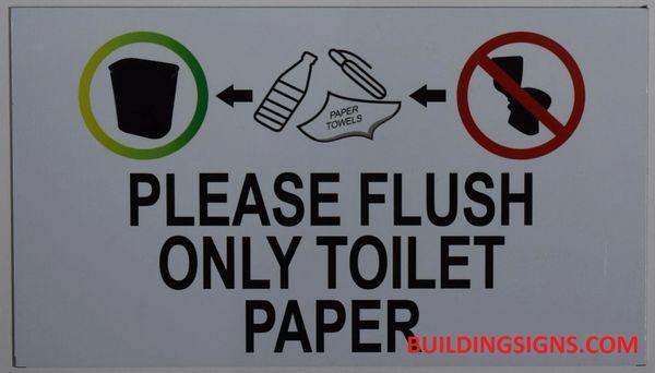 Hpd Sign Flush Only Toilet Paper Sign Aluminum Hpd Sign