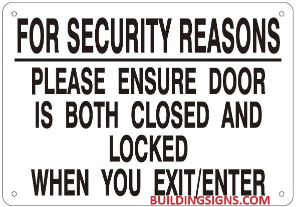 Aluminum Hpd Signs Keep Door Closed And Locked At All