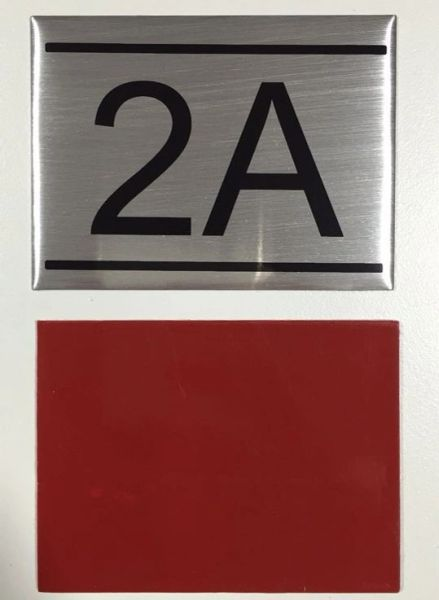 DOB NYC – APARTMENT NUMBER SIGN 2A - BRUSHED ALUMINUM (2 ...