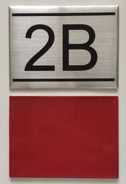 Dob Nyc Apartment Number Sign 2b Brushed Aluminum 2