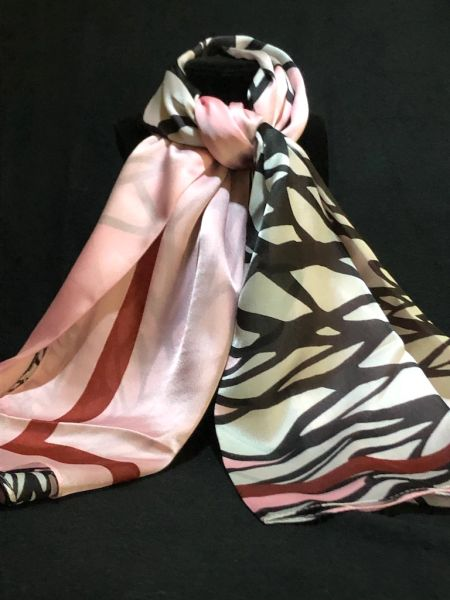 Light Pink/Black/White/Burgundy (50% Silk/ 50% Polyester)
