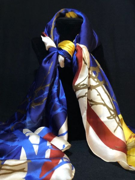Royal Blue/Yellow/Burgundy - (50% Silk/50% Polyester)