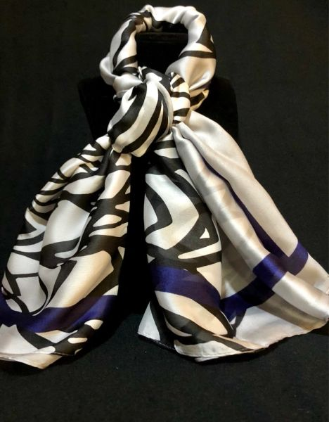 White/Black/Royal Blue (50% Silk/50% Polyester)