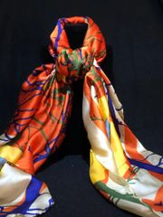 Roasted Orange/Yellow/Royal Blue (50% Silk/ 50% Polyester)