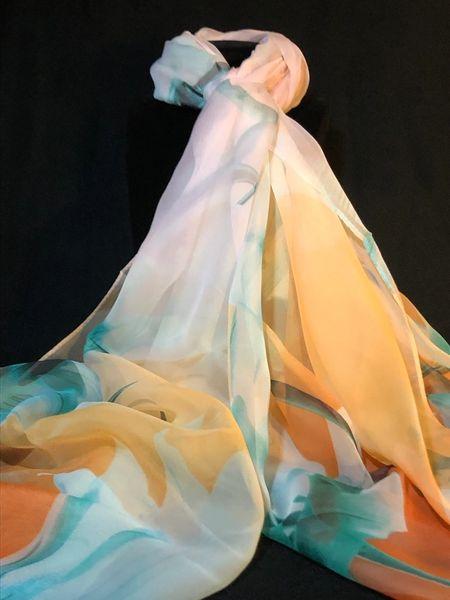 Peach Teal Cream Fashion Scarf (100% Silk Feel)
