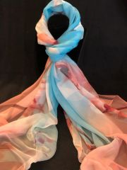 Peachy Pink Light Blue/Cream (100% Silk Fee)