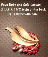 Ruby Leaves Mid Century Pin