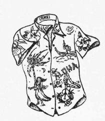 Hula Shirt rubber Stamp