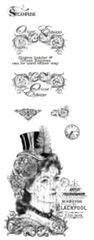 Steampunk Woman multiple rubber stamps