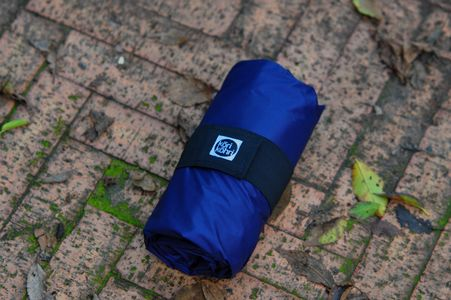 folded blue bike bag on the ground