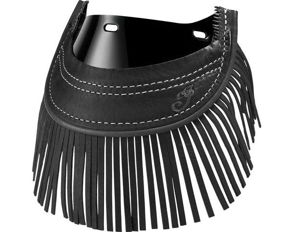GENUINE LEATHER TOURING FRONT MUD FLAP BLACK W/FRINGE - 2880101-01