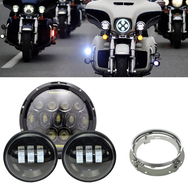 LED Headlight and Passing Lamps Black - 14-UP Chiefs - D0875X