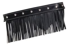 GENUINE LEATHER FLOORBOARD TRIM FRINGE W/STUDS BLACK - 2879555-03