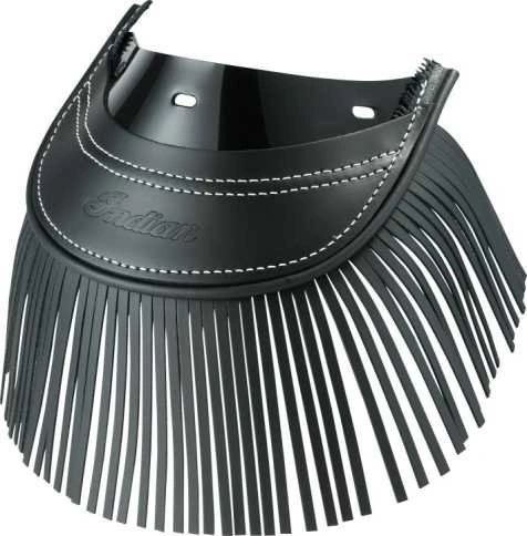 GENUINE LEATHER REAR MUD FLAP BLACK FRINGE - 2879584-01