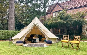 glamping party tent with Upcountry Camp in Mississippi