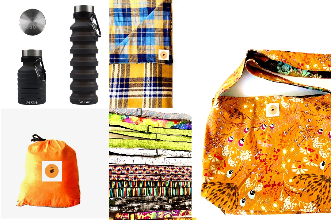 Sokwe water bottles, hammocks, camp blankets, dog collars, and reversible cross-body bags.
