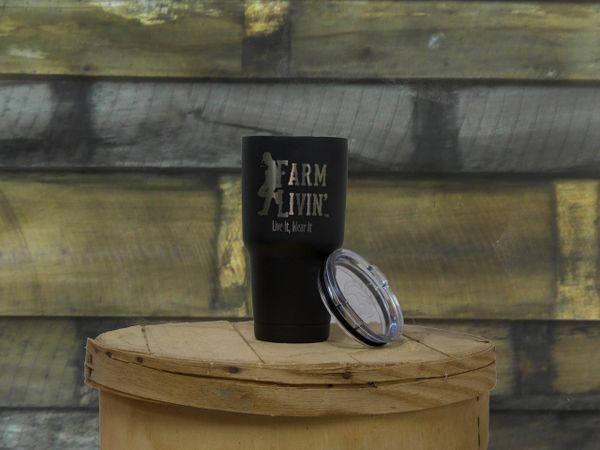 Black powder coated Stainless Steel Mug/ Farm Livin Logo