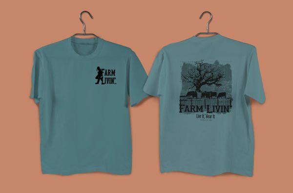 Blue Spruce T-shirt/ B&W Cattle Design