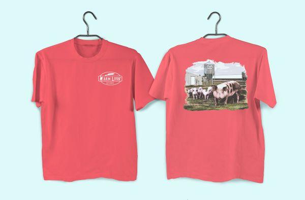 Bright Salmon T-Shirt/ Pig Design