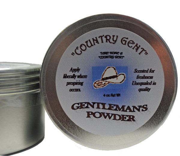 Powder Gentlemen's Talc 4 oz. Tin with Screw on Top, includes Puff