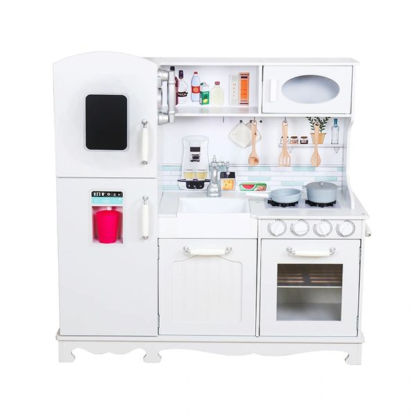 Tall white wooden toy kitchen