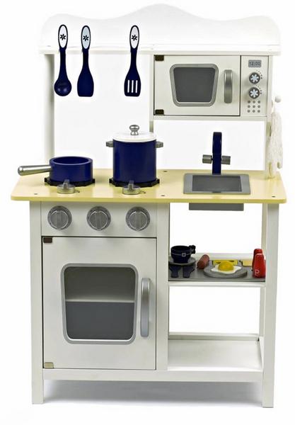 Wooden Toy Kitchen - White & Blue