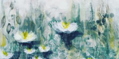original encaustic painting entitled 'water lillies'