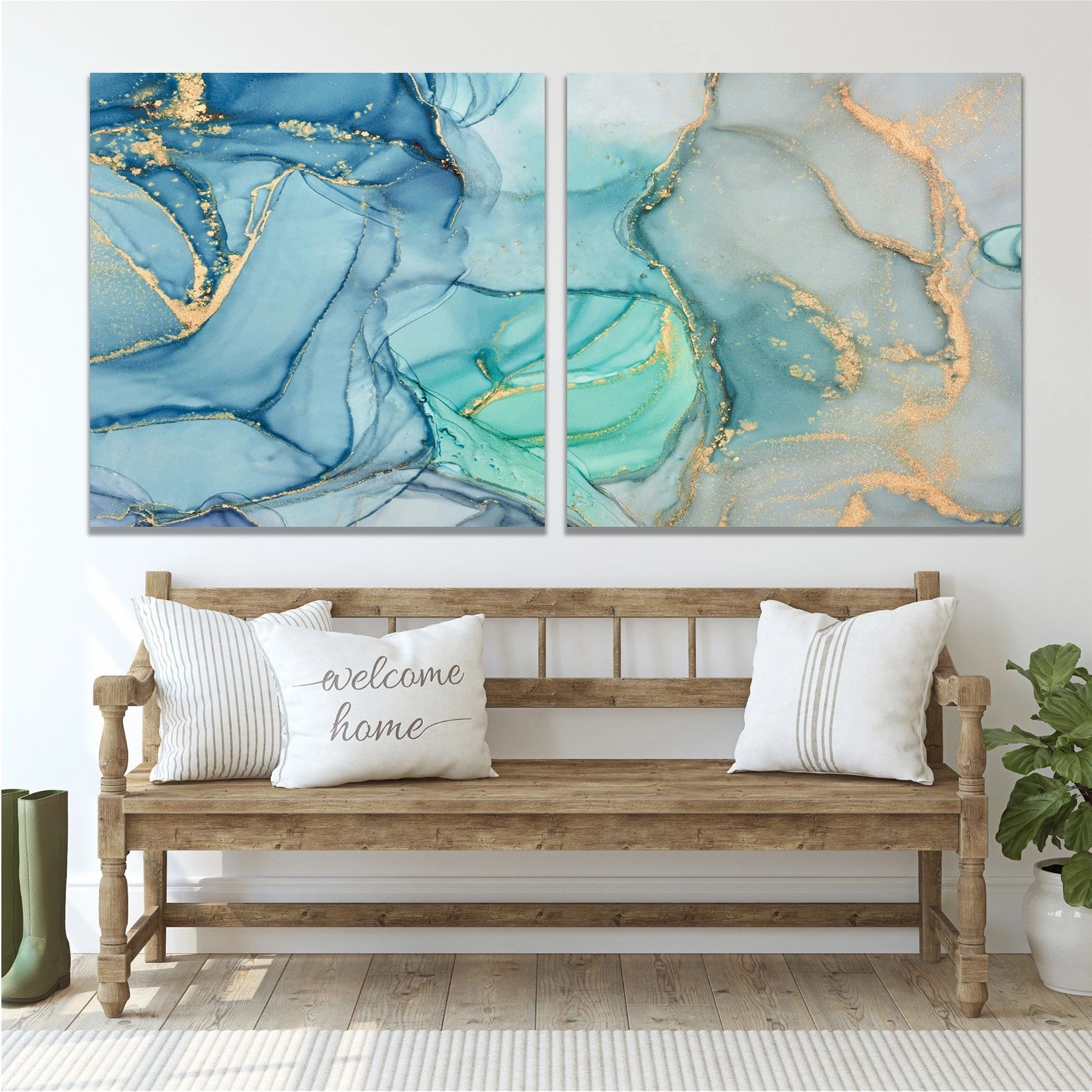 Colorful Acrylic Pour Paintings on Canvas, Modern Coastal Canvas Art Large Abstract Canvas Wall Art