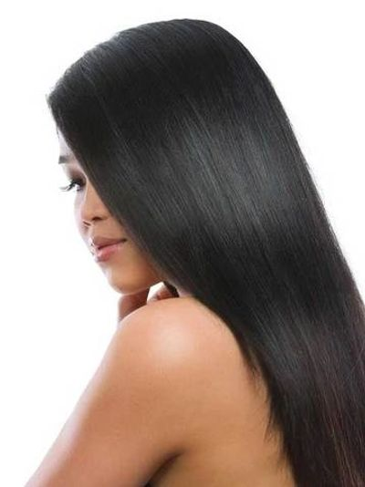 WOMEN WITH LONG BLACK HAIR WITH KERATIN TREATMENT