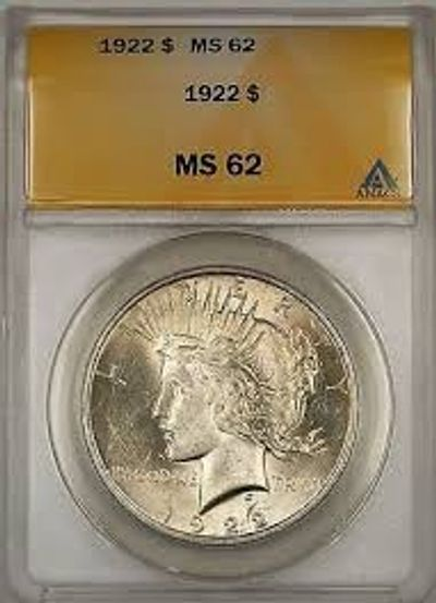 1922 ANACS graded MS62 Peace Silver Dollar Mint Condition