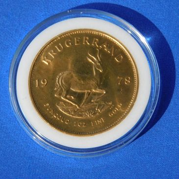 1978 1 oz gold bullion krugerrand 1 oz gold in bu condition and inside hard plastic capsule