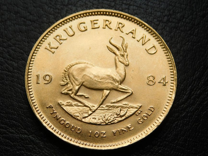 1984 1 oz fine gold Krugerrand showing Gazelle running right