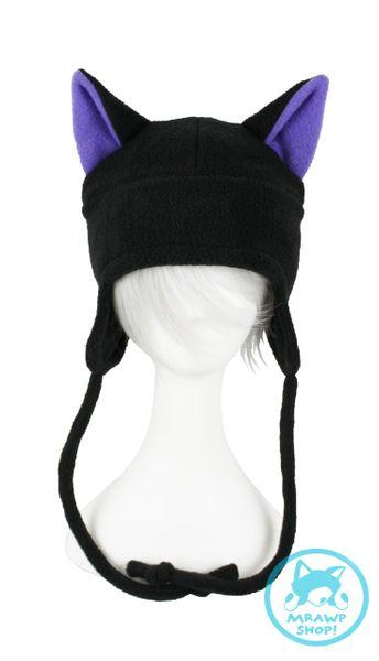 Black Cat Hat - Purple Ears