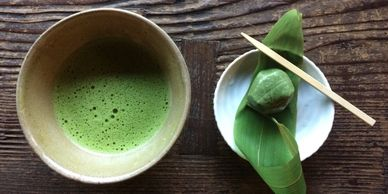 Matcha green tea and sweet, served at Innsyoutei, Uneo Park, Tokyo, Japan