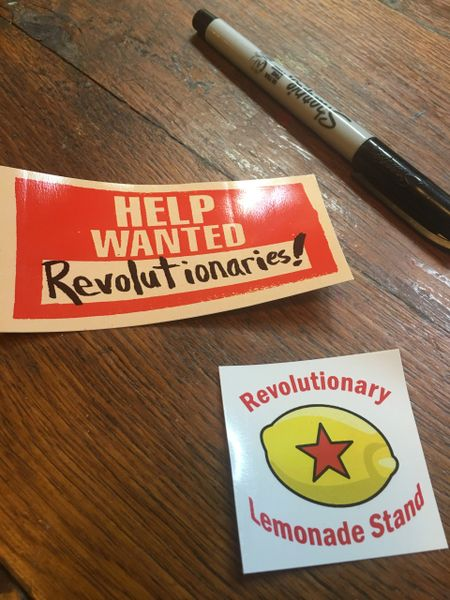 Vinyl Stickers -Help Wanted - Revolutionaries and Revolutionary Lemonade Stand logo