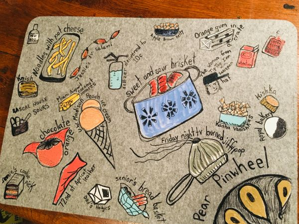 Felt Placemat with childhood foods hand screened and hand painted