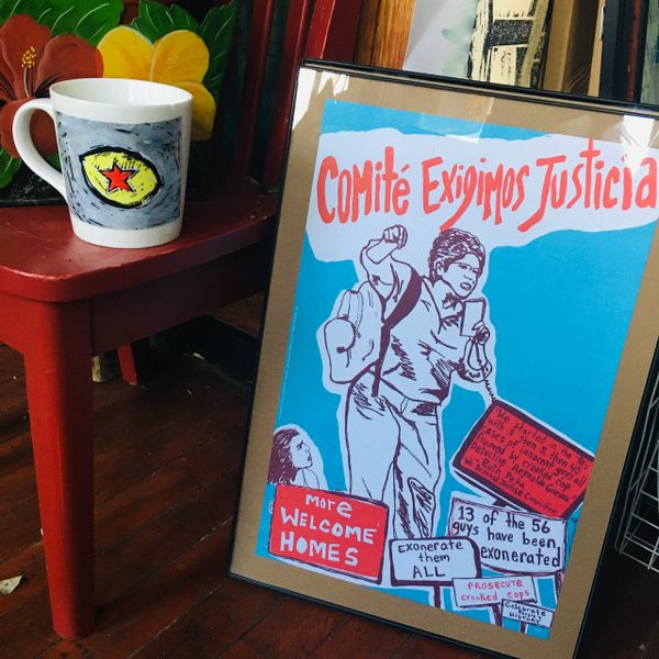 Comite Exigimos Justicia - offset poster from Celebrate People's History book FRAMED !! Chicago pick up only